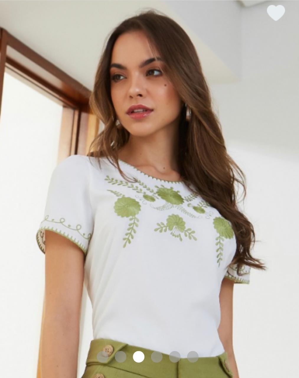 Blusa Fernanda Crepe Bordado Floral
