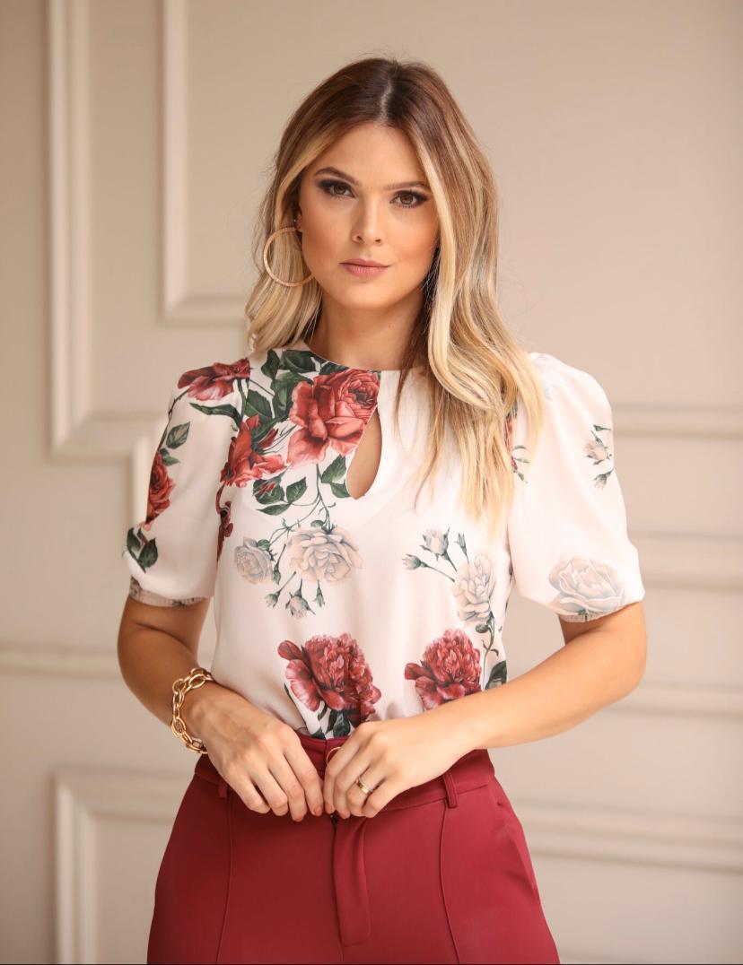 Blusa Fernanda Crepe Gota Rosas