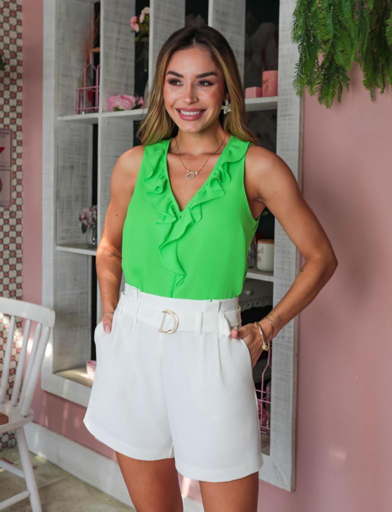 Blusa Fernanda Crepe Liso Decote V Detalhe Babados