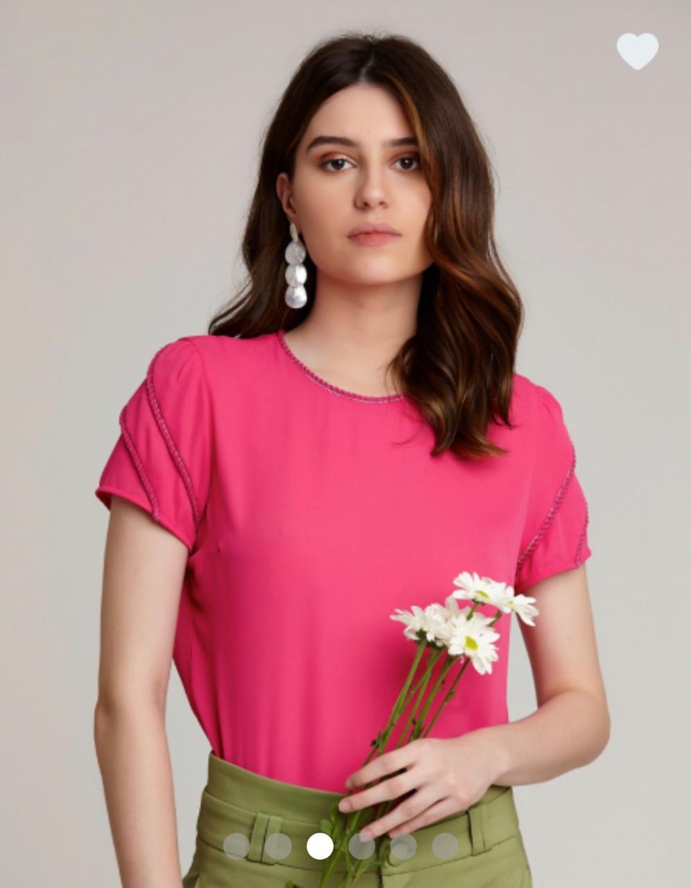 Blusa Gisele Crepe Detalhe Vivos Cores Pink ,Verde e Amarelo