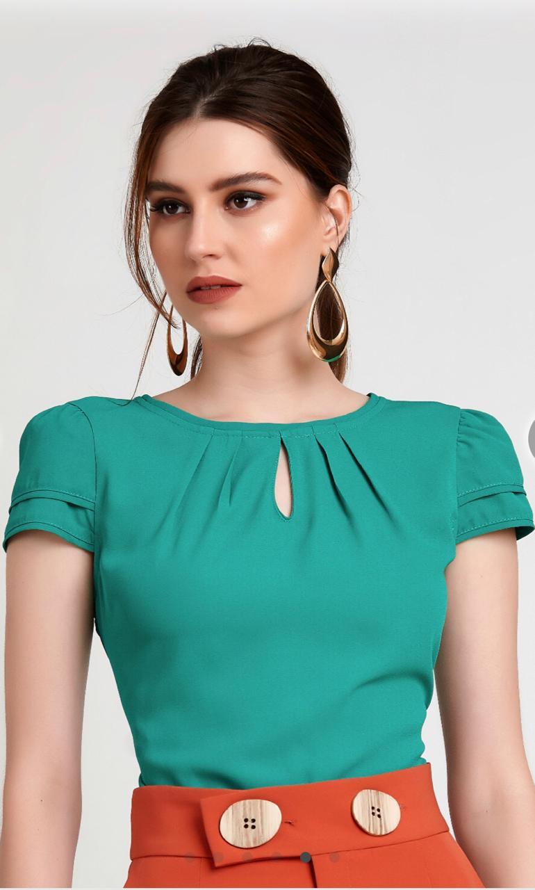 Blusa Helen Crepe Vivo Mangas Cores Verde e Rose