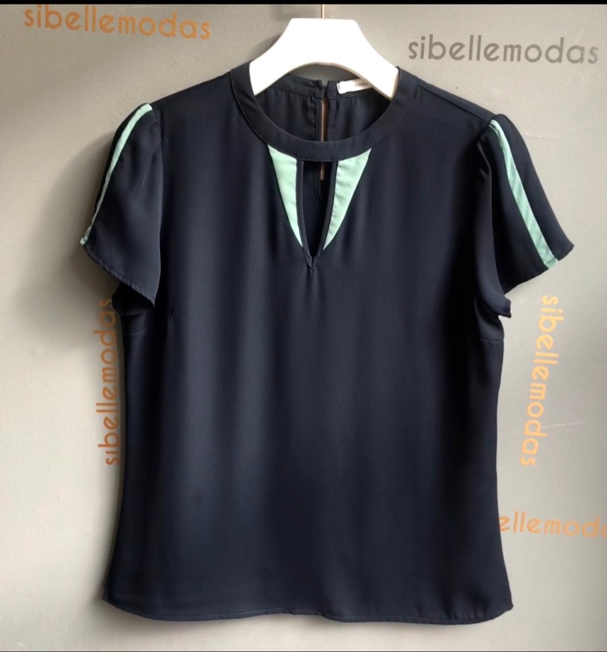 Blusa Janete Crepe Bicolor