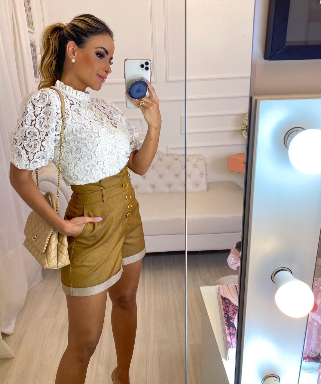 Blusa Juliana Renda Aplique Na Frente