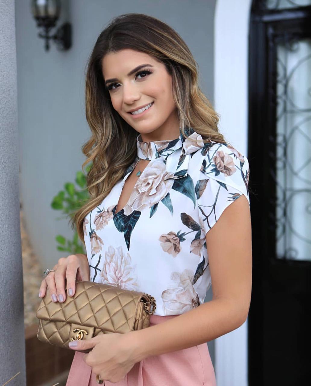 Blusa Leandra Crepe Floral Laço