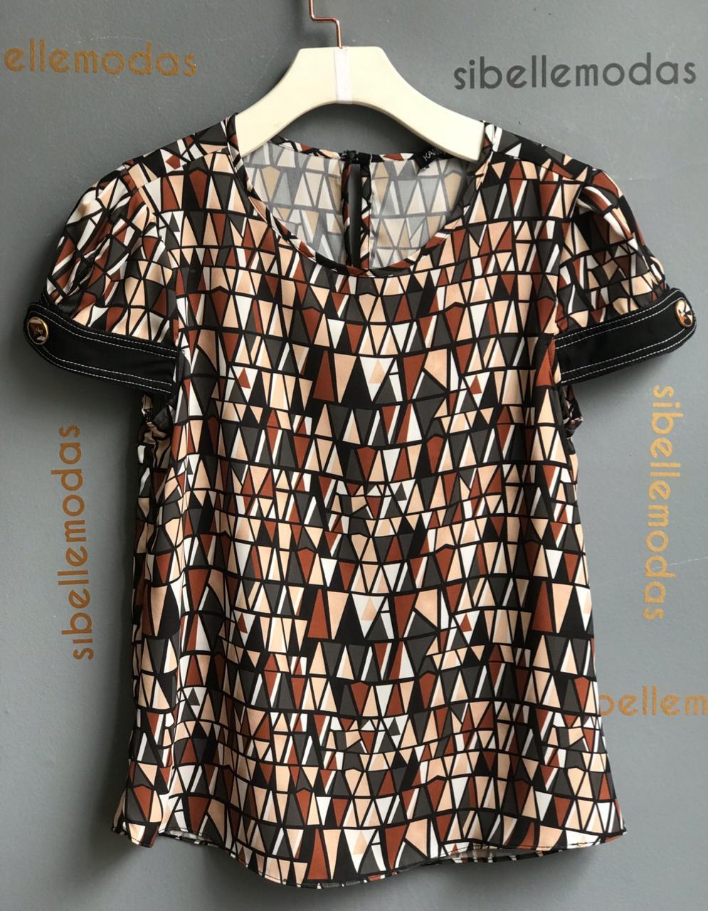 Blusa Leona Crepe Print Detalhe Botões Preto