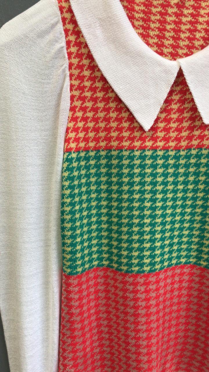 Blusa Lidia Tricot Detalhe Colors Punho Lastex