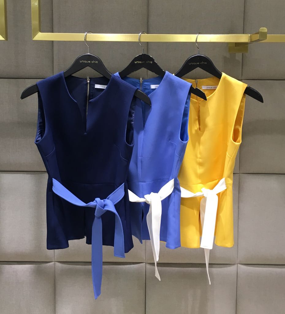 Blusa Ligiane Peplum Alfaiataria Bicolor Marinho e Amarelo