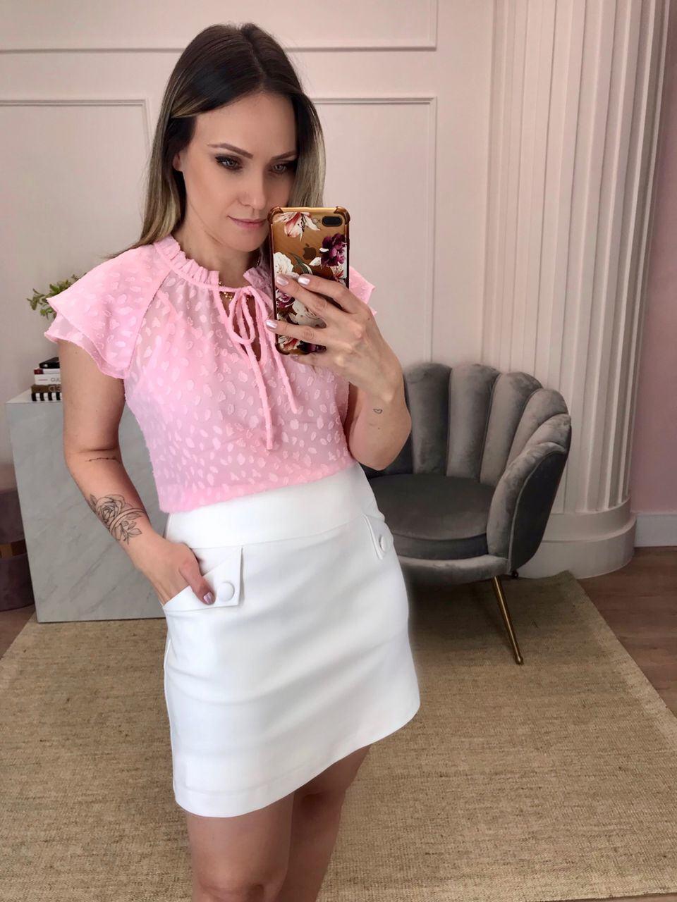 Blusa Lorena Crepe Devore Detalhe Gola Padre Franzida Decote Amarração + Regata