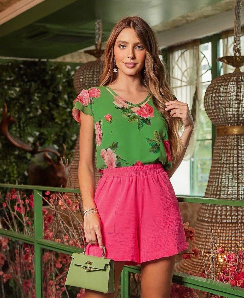 Blusa Luana Floral Detalhe Tiras Decote