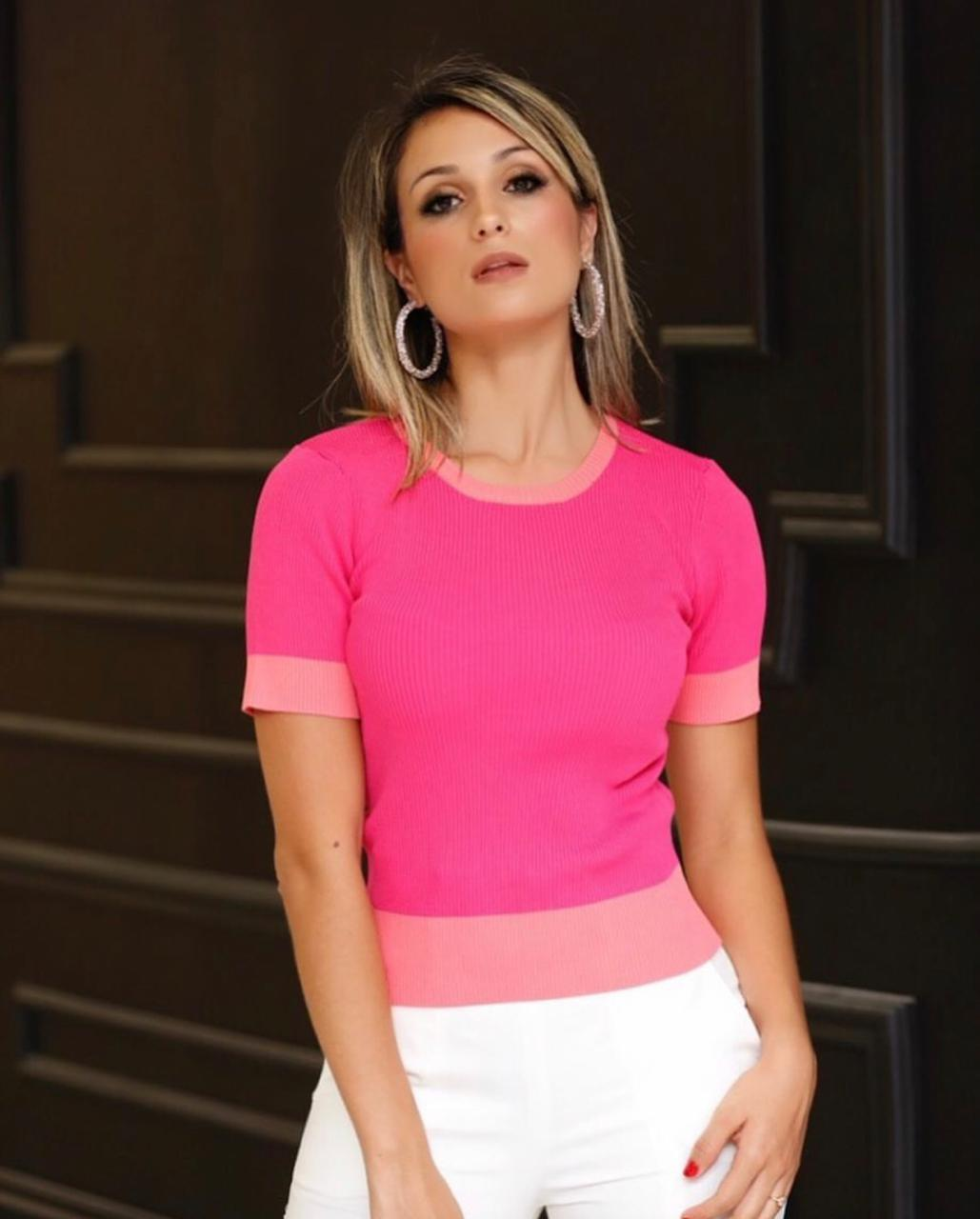 Blusa Ludmila Tricot Bicolor Cores Pink e Bege