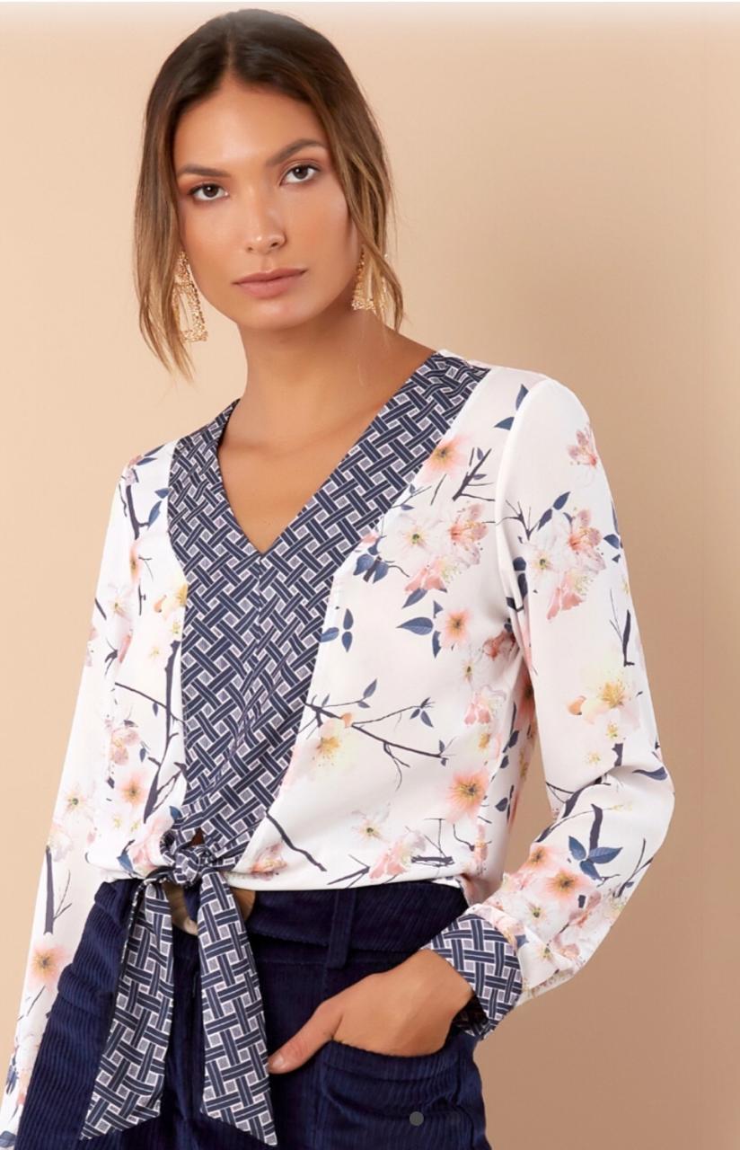 Blusa Marcela Crepe Floral Compose Print