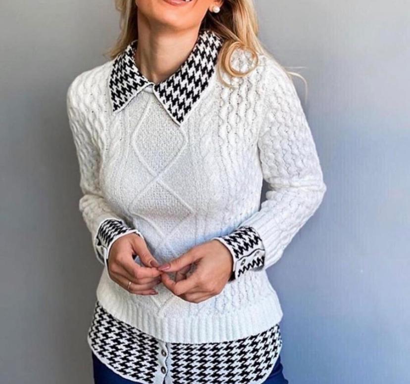 Blusa Marcela  Tricot  Sopreposição  Gola  e Punho