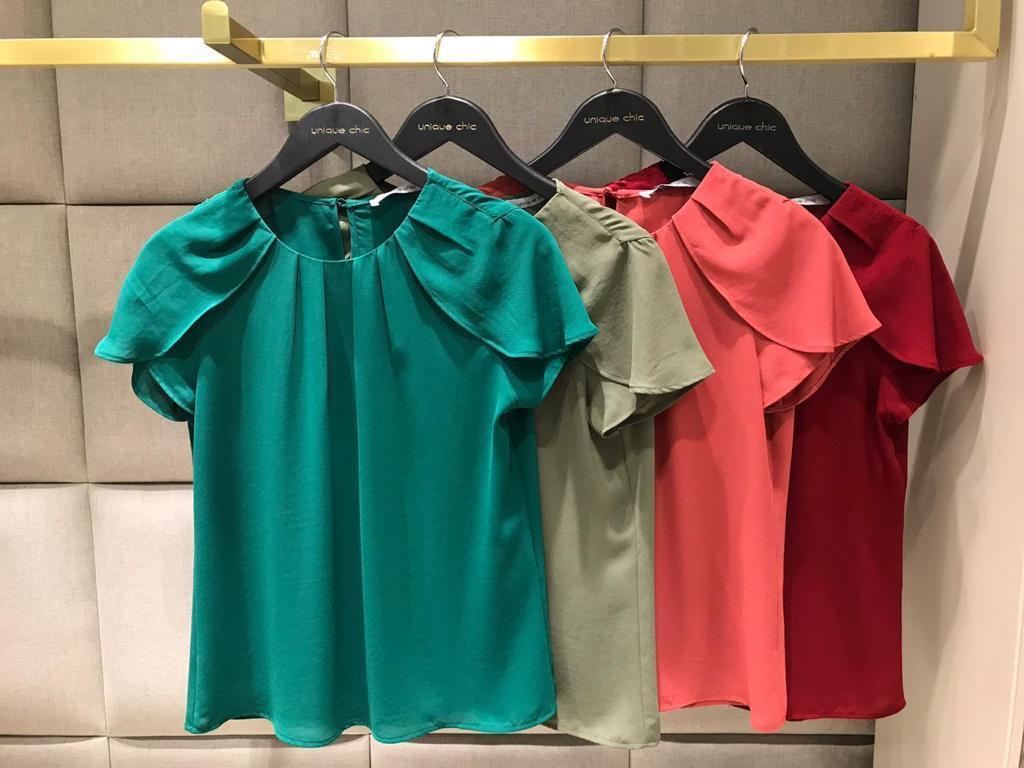 Blusa Marilia Crepe Aba mangas Cores Militar,Verde ,Rose e Marsala