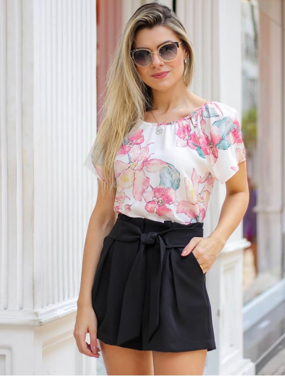 Blusa Marilia Crepe  Floral Botões  Forrado