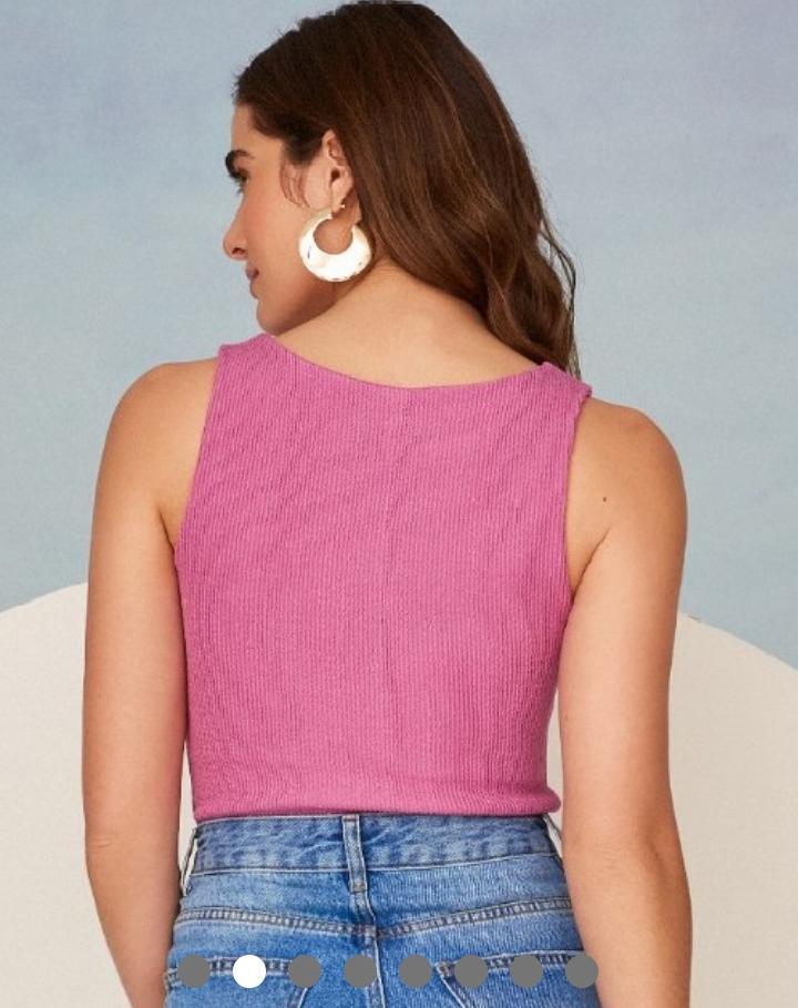 Blusa Marina Malha Canelada Detalhe Decote Quadrado Textura Alça