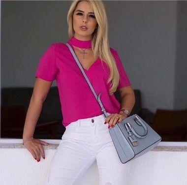 BLUSA MELISSA  CHOCKER TECIDO CREPE