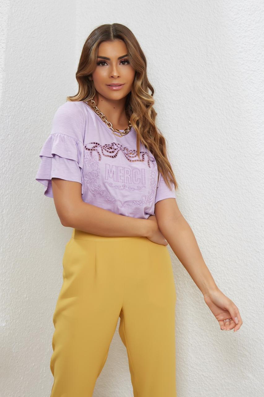 T-shirt  Merci Malha Bordado Basic