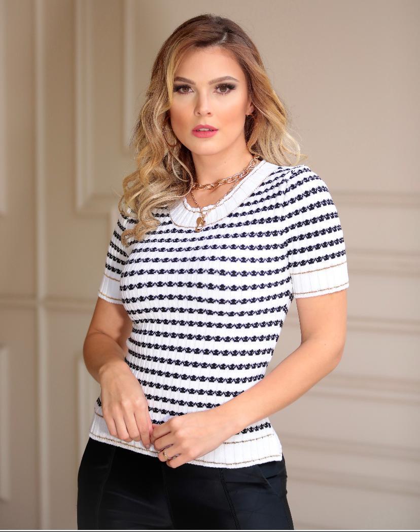 Blusa  Michele Tricot Mg Curta Com detalhe em Lurex