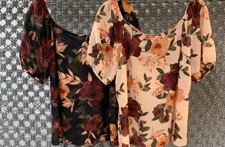 Blusa Monize Crepe Floral Decote Canoa