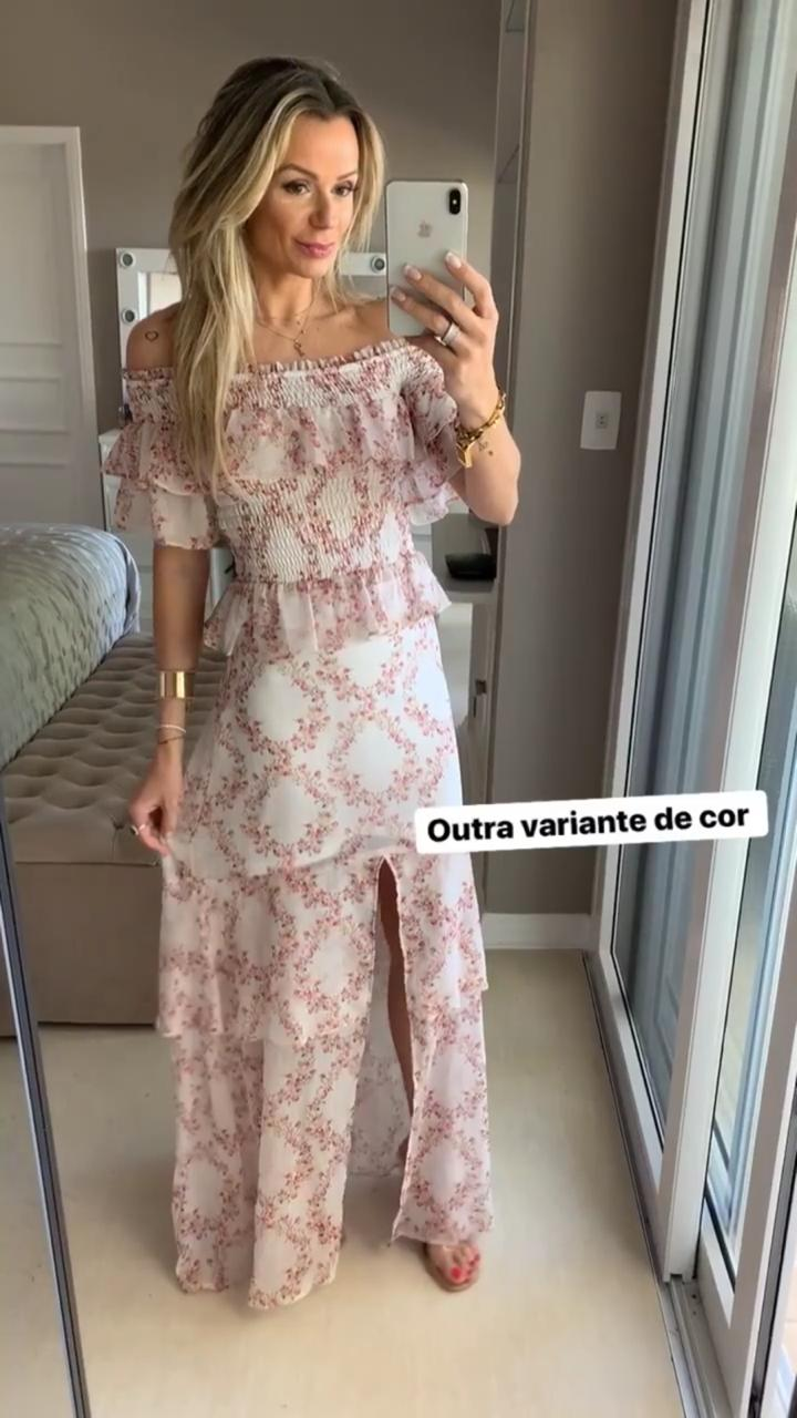 Blusa  Morina Seda Eco Floral Com Lastex