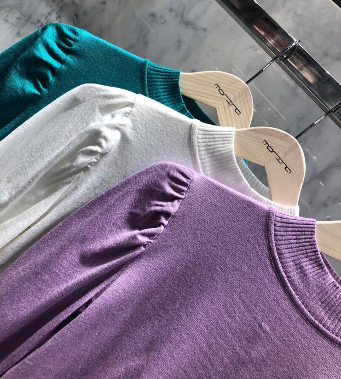 Blusa Morina Tricot Bicolor ondas na barra