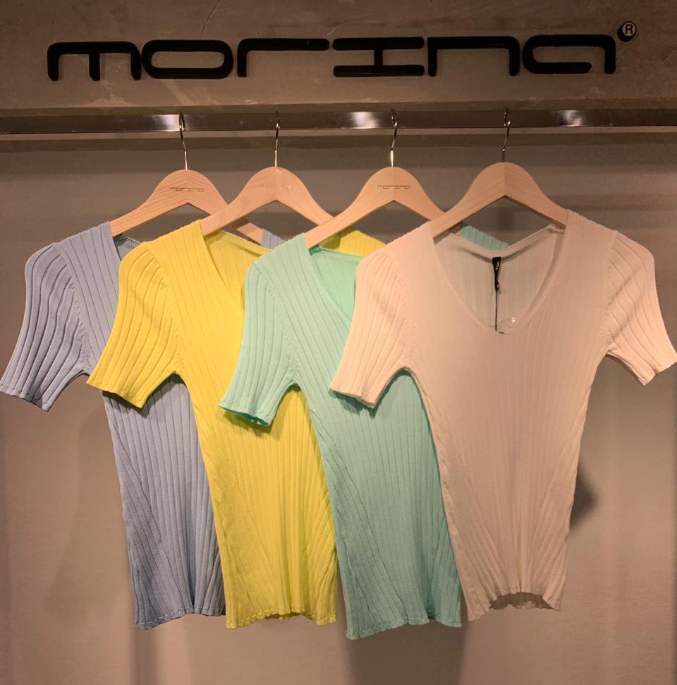 Blusa  Morina  Tricot Canelado  Decote  V