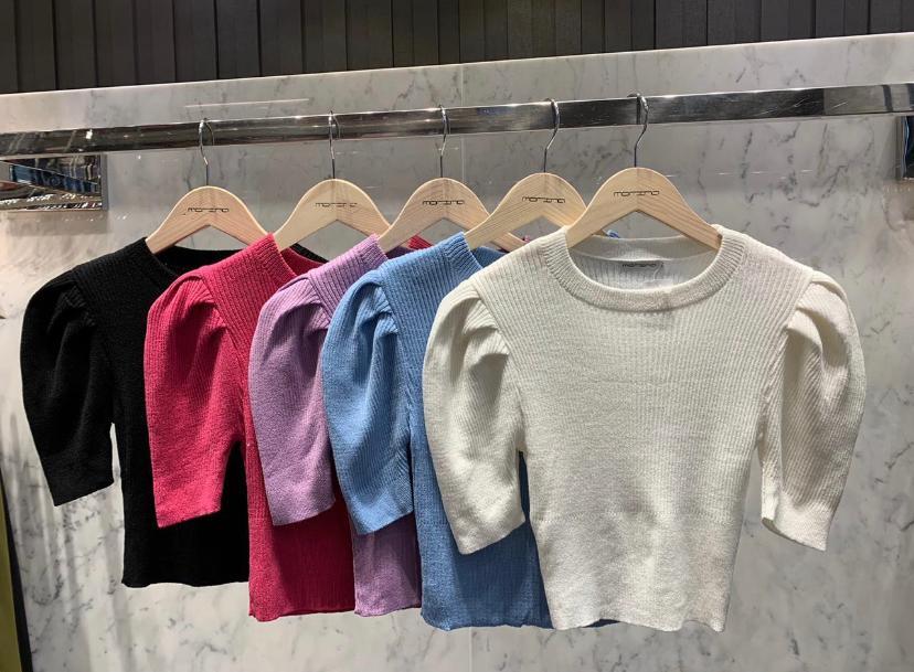 Blusa Morina tricot  Canelado Manga Bufante