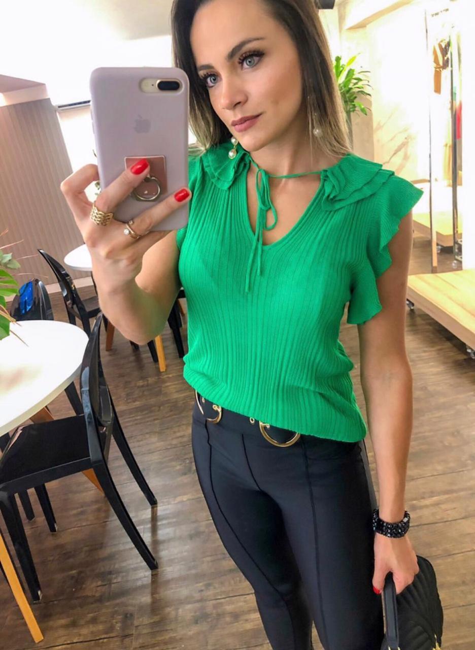 Blusa Morina Tricot Canelado Ruffled