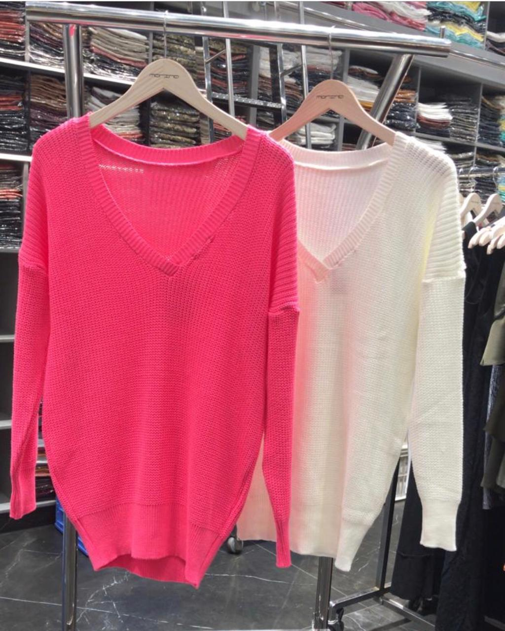 Blusa Morina Tricot  Cores :Off, Pink