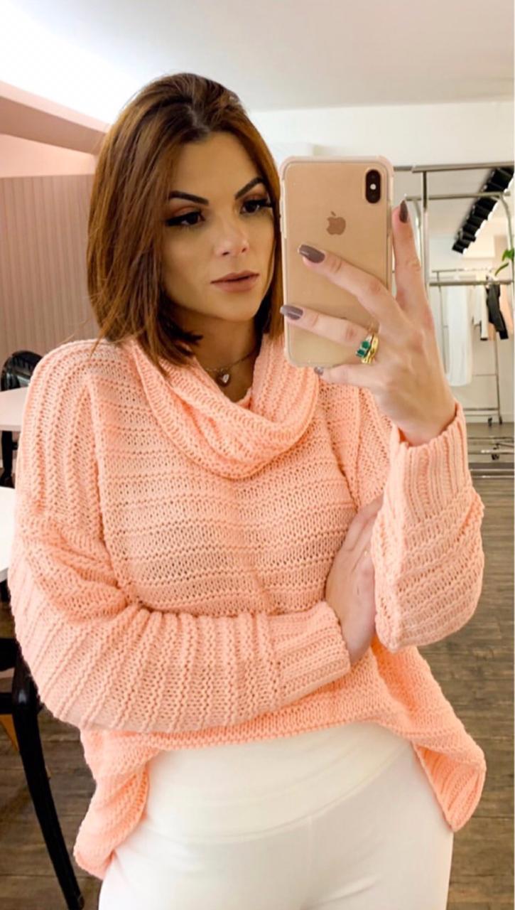 Blusa Morina Tricot Gola Role Cor Pink,Verde , Off, Azul Bebe e Rose