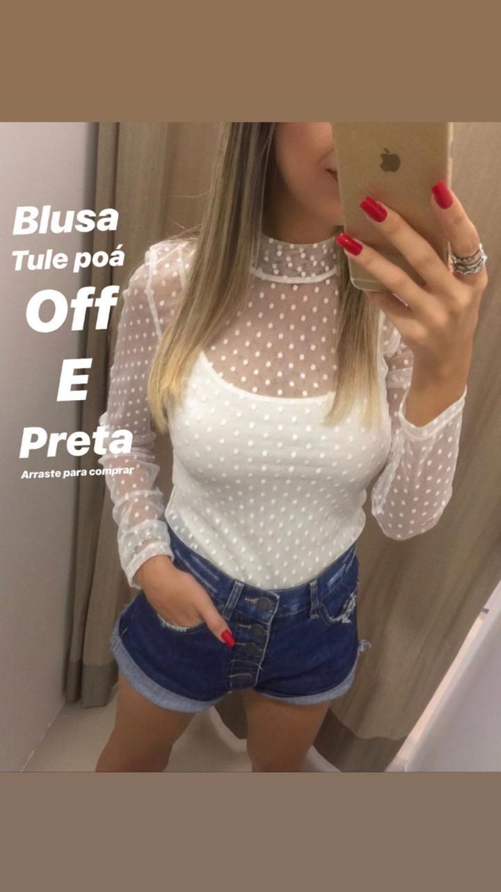 Blusa Morina Tule Poá  Cores Off e Preto (Não acompanha top)
