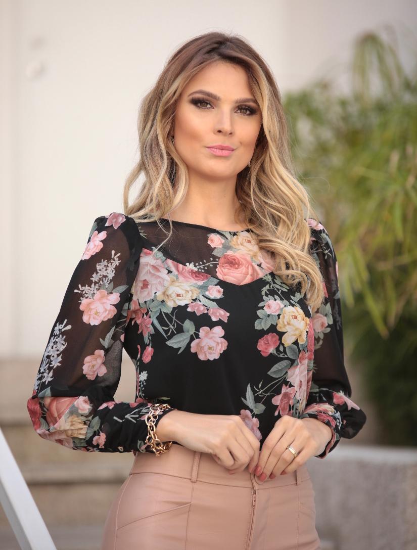 Blusa Natalia Crepe Floral Manga Longa