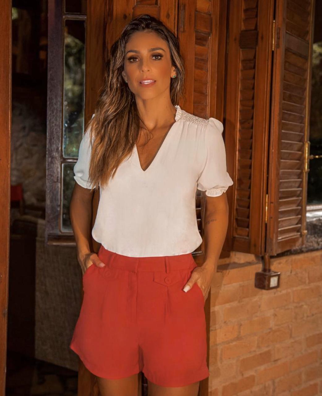Blusa Natalia Crepe Ombro Lastex