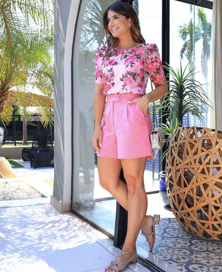 Blusa Natasha Floral Detalhe Decote Gota + Regata