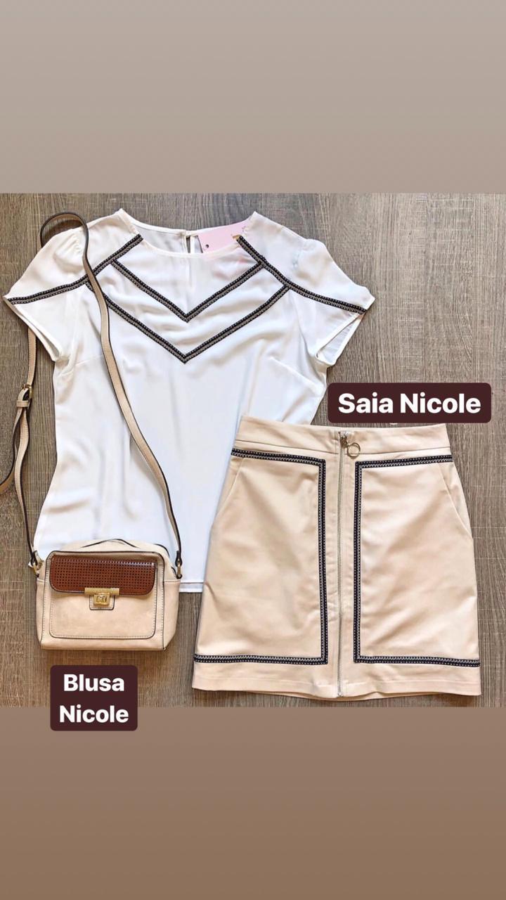 Blusa Nicole Crepe Detalhe Gorgurão