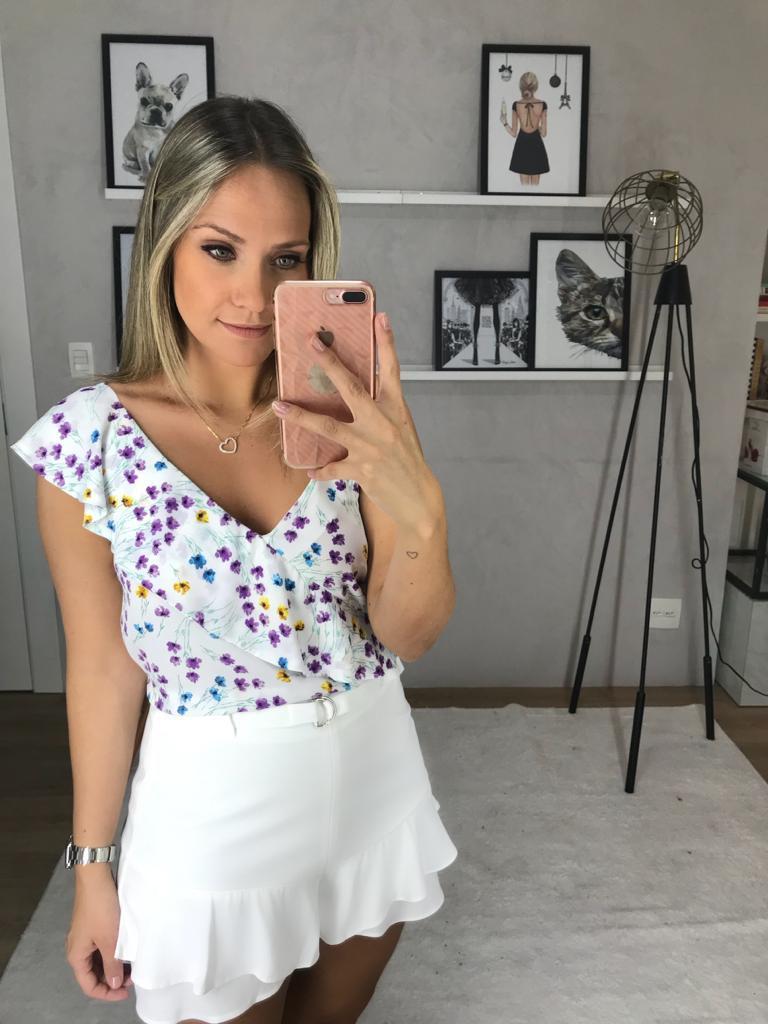 Blusa Nicole Regata Ombro Floral