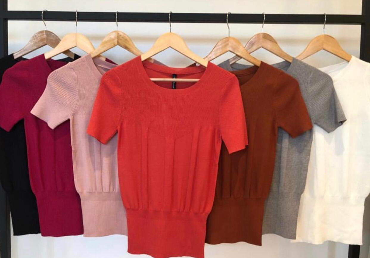 Blusa Oxford Tricot Modal Cores Rose, Cinza Mescla, Off , Preta e Vermelha