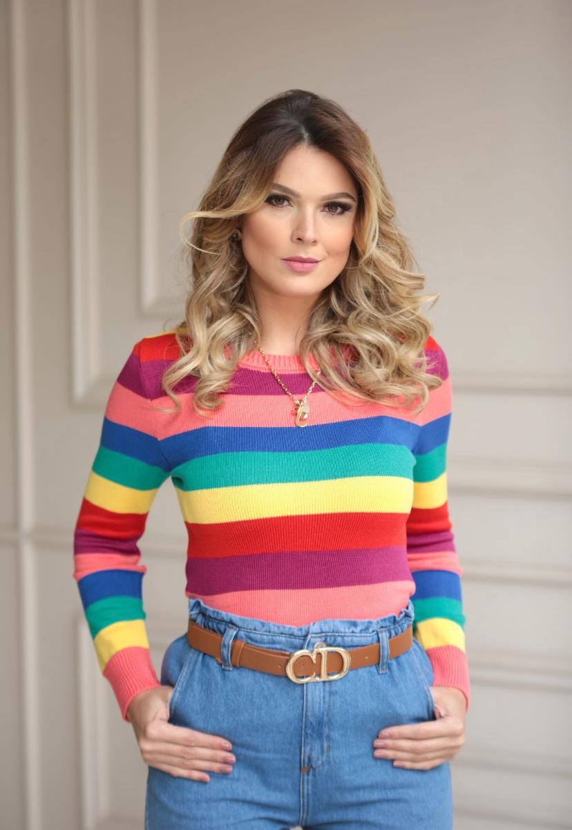 Blusa Paola Tricot Modal Listras