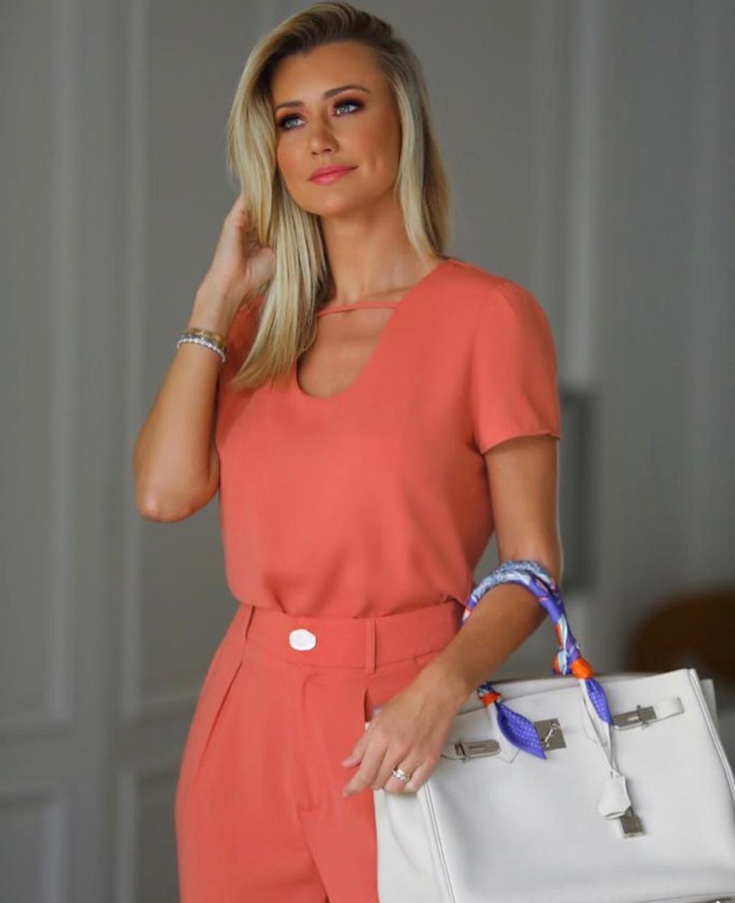 Blusa Paula   Crepe Gota