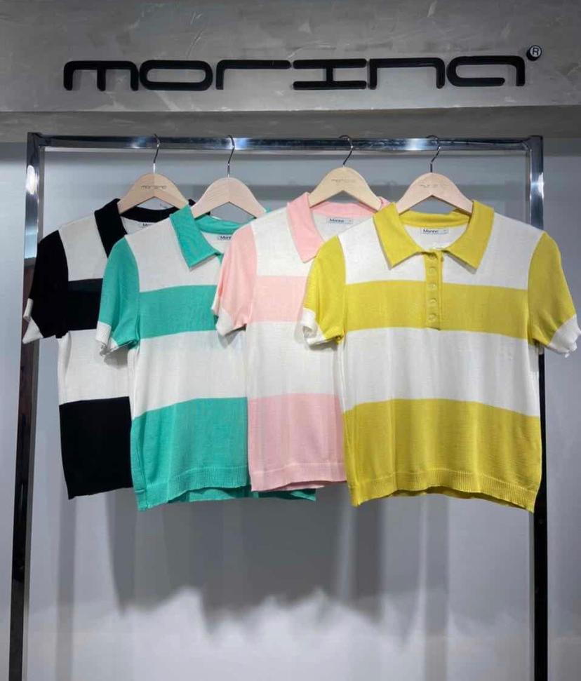 Blusa Polo Morina Tricot Detalhe Bicolor