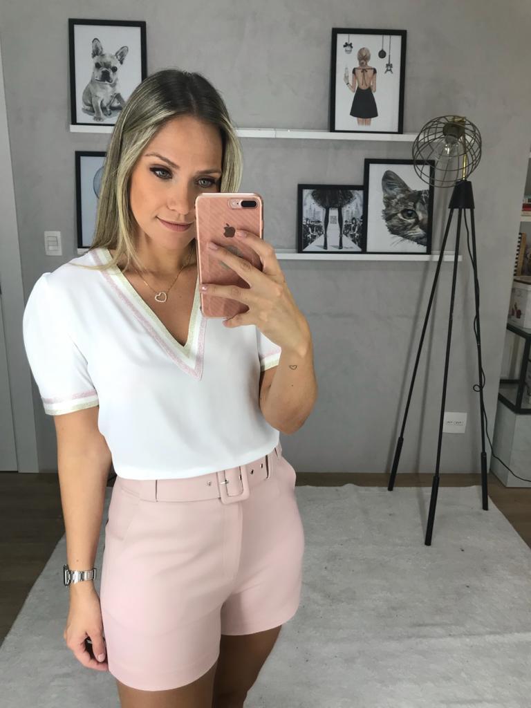 Blusa Polyana Crepe Detalhe Lurex Cores Off, Verde, Lilas e Rosa