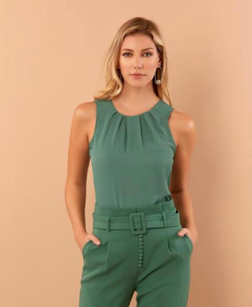 Regata Beatriz Crepe Cores Verde
