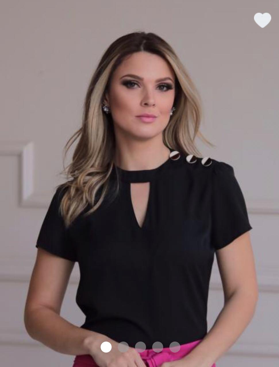 Blusa Roberta Crepe Botões Bicolor