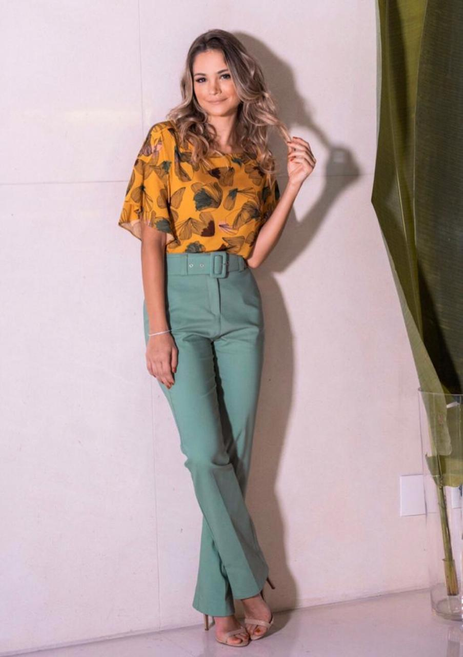Blusa Rosa viscose  Print Cores: Verde agua e Mostarda
