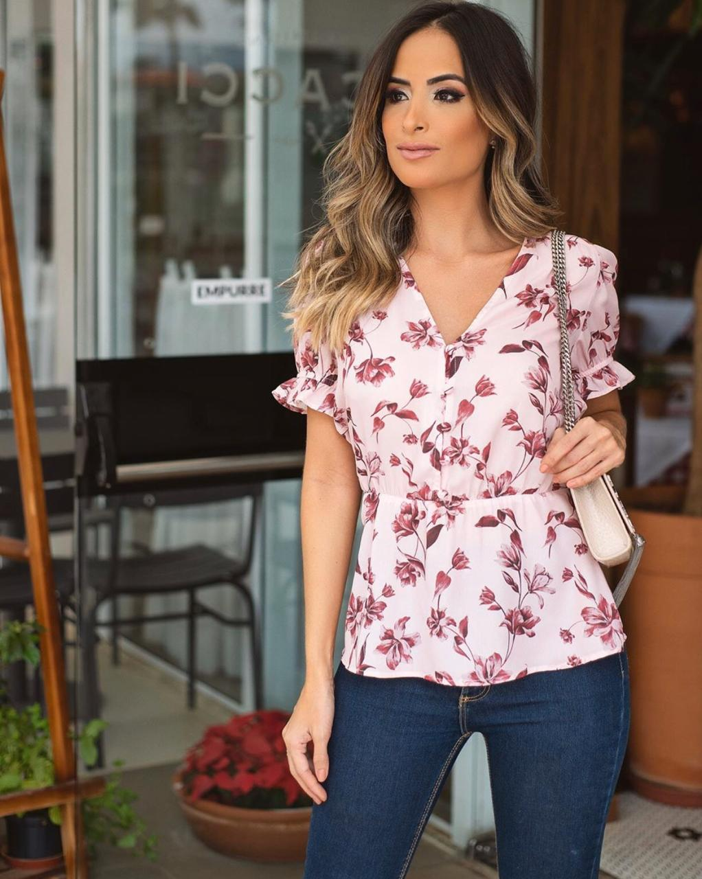 Blusa Sara Floral Print Botões