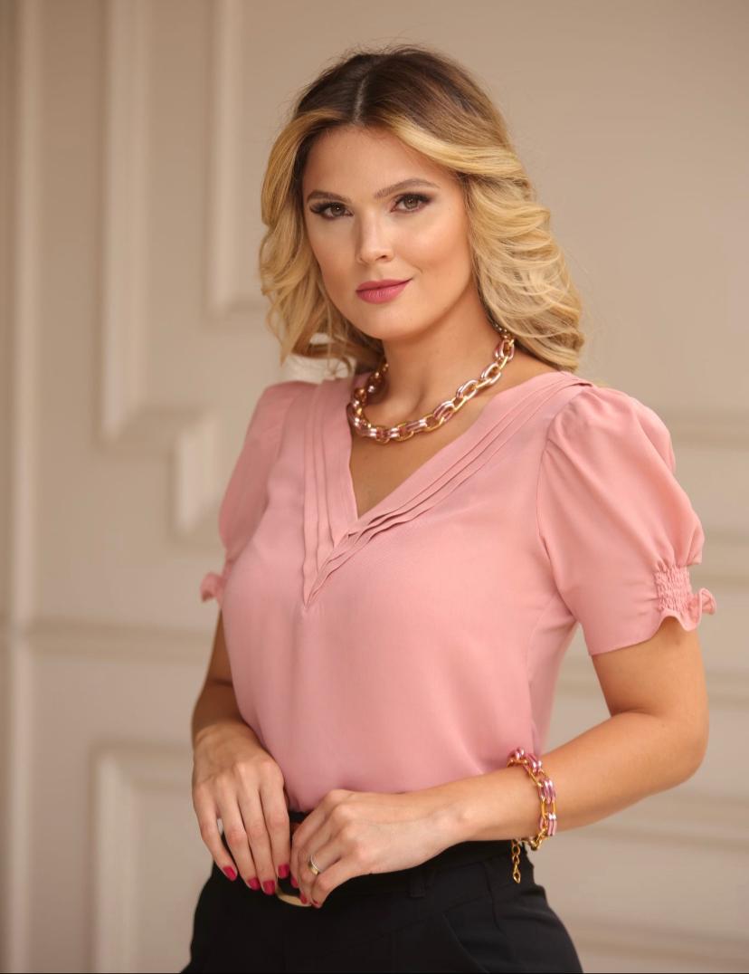 Blusa Soraia Crepe Com Detalhe Prega rose