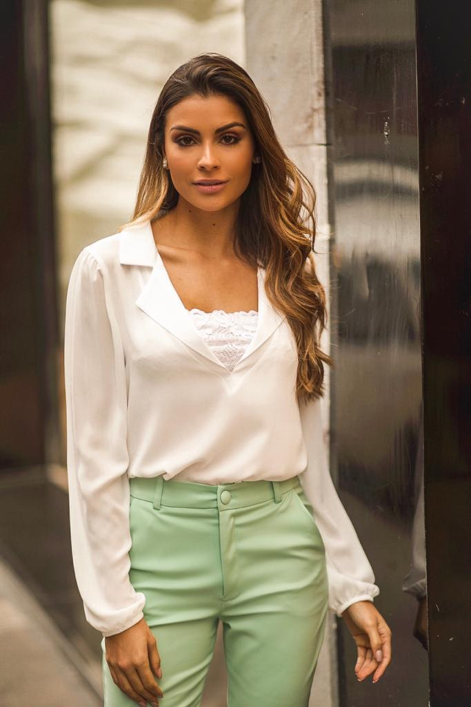 Blusa  Stefany Crepe  + Top Renda
