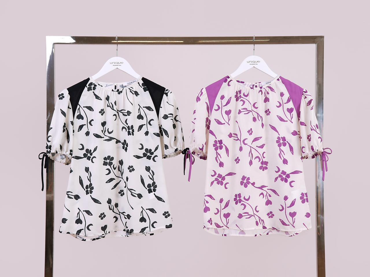 Blusa Sueli Crepe Print Bicolor Detalhe Pala Lisa Amarração