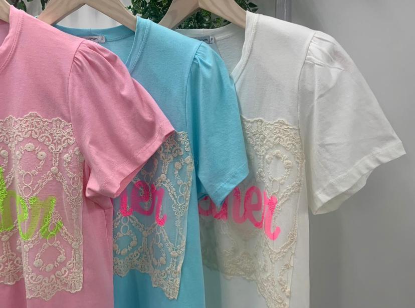 Blusa T-Shirt Morina Detalhe Renda Ombreira