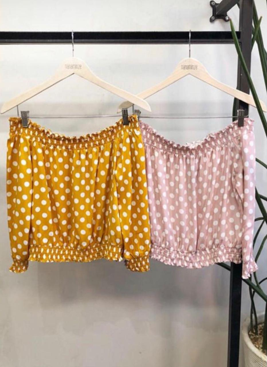 Blusa Tahare Viscose Poa Cores Rosa e Amarela